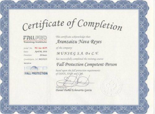 Certificación FALL PRO